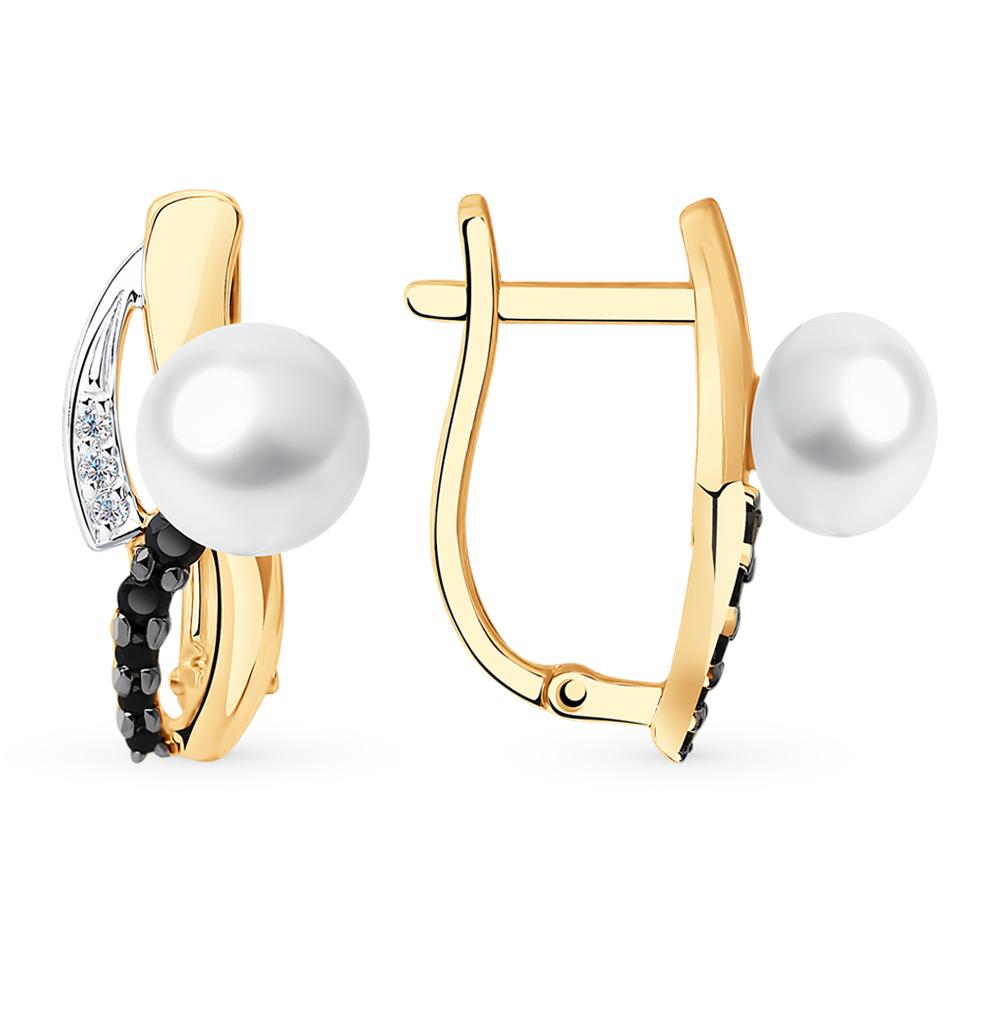 Фото «Золотые серьги с фианитами и жемчугом SOKOLOV 792176*»