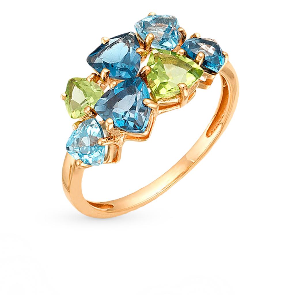 Фото «золотое кольцо с топазами и хризолитом»