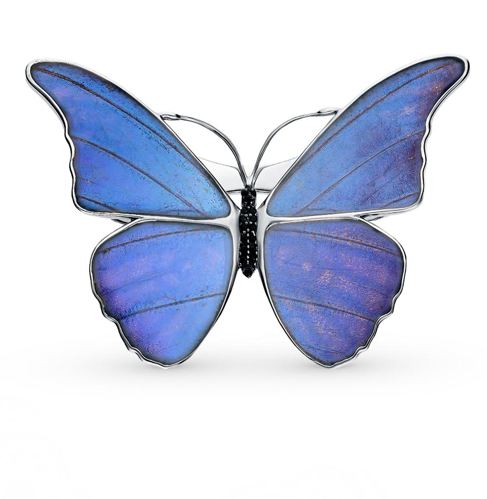 Серебряная брошь с фианитами, эмалью и крыльями бабочки, 6.5 см