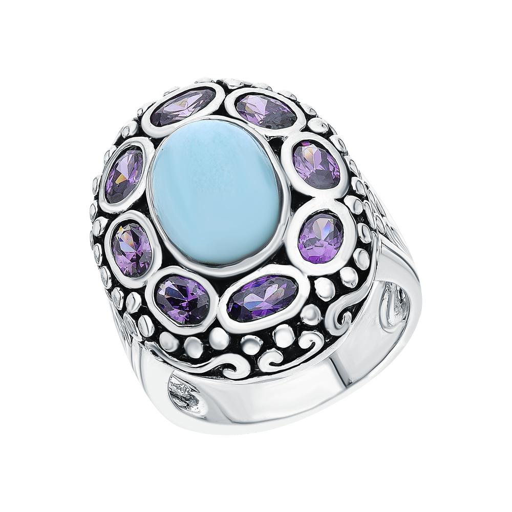 Фото «Серебряное кольцо с ларимаром и аметистами синтетическими»