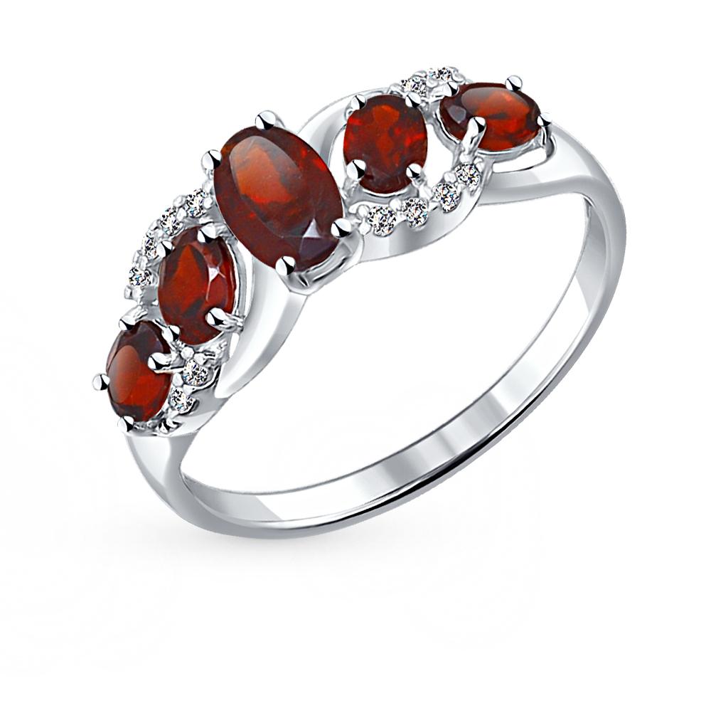 серебряное кольцо с фианитами и гранатом SOKOLOV 92011009