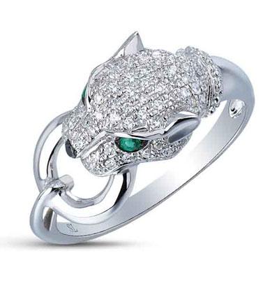 Фото «золотое кольцо с чёрными бриллиантами, изумрудами и бриллиантами»