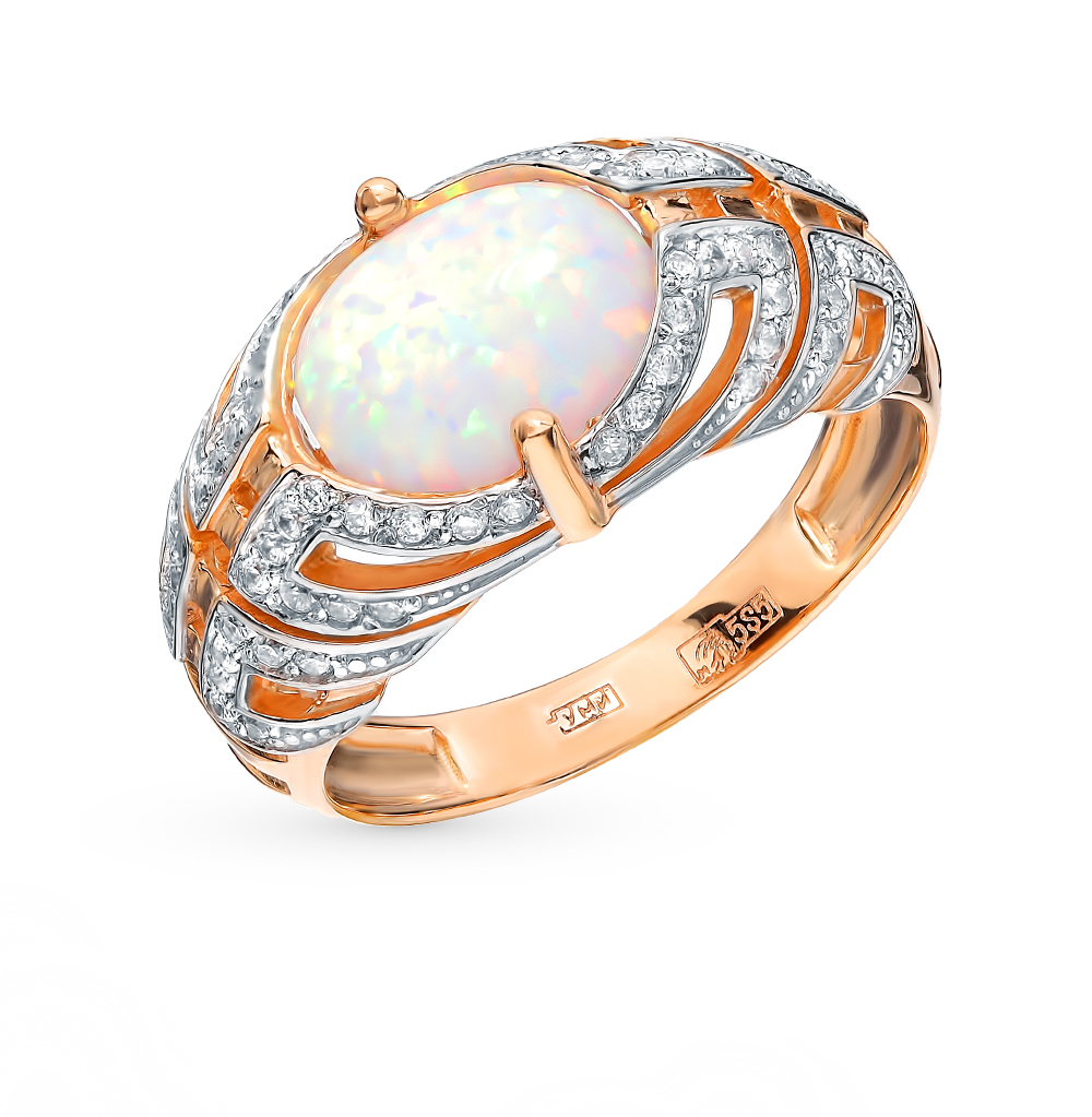 золотое кольцо с фианитами и опалами