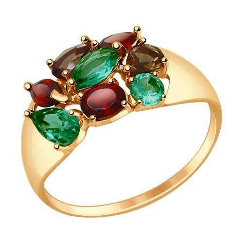 Фото «Золотое кольцо с раухтопазами, гранатом и ситаллами SOKOLOV 714679*»