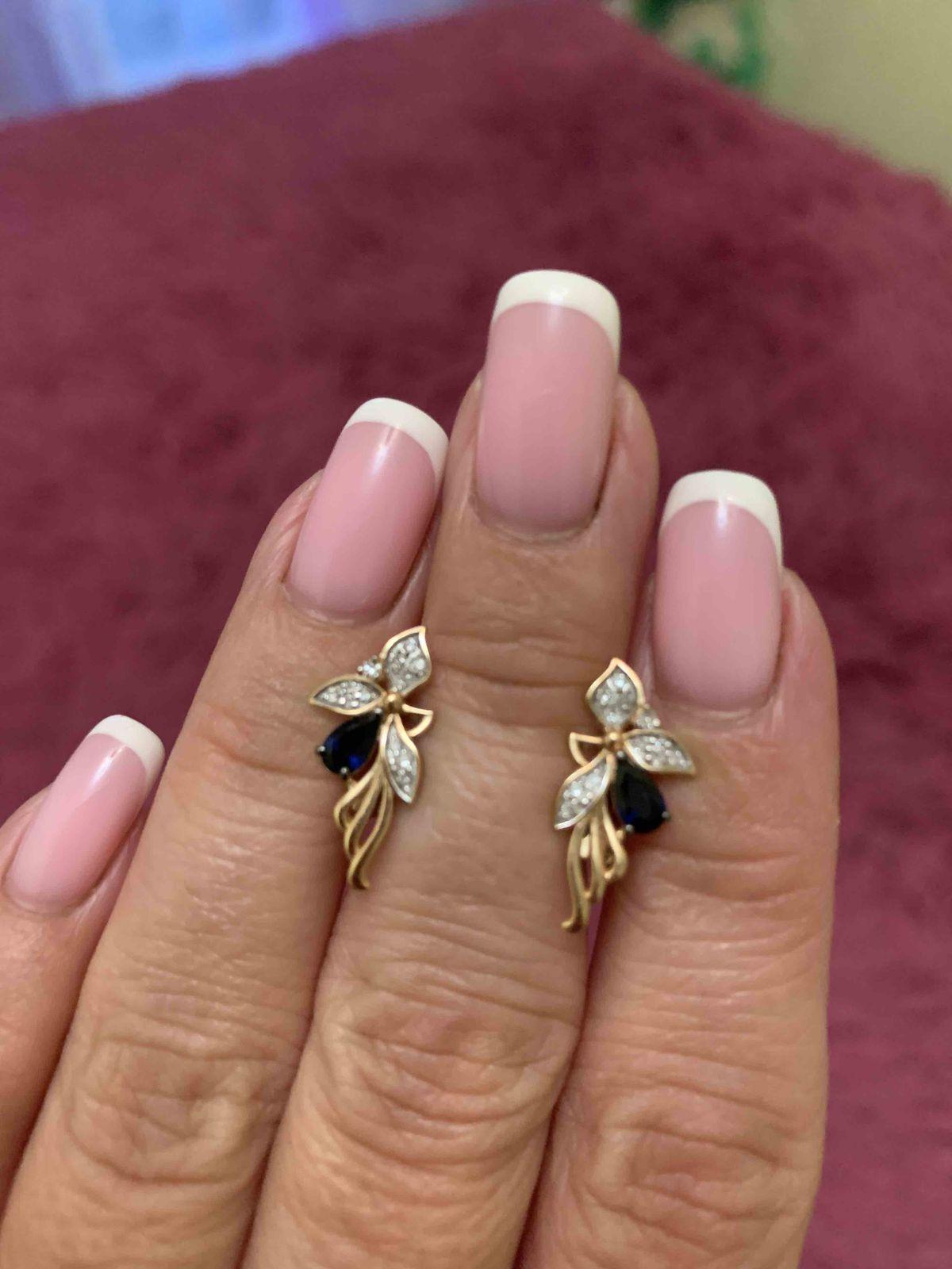 Идеальные сережки с сапфиром и бриллиантами