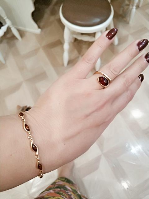 Серебряный браслет с позолотой и янтарём.