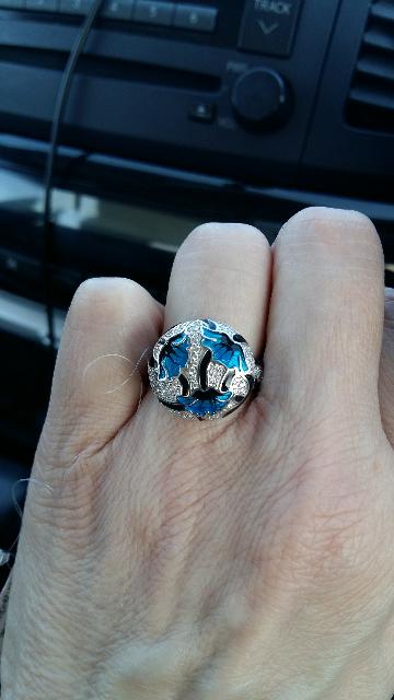 Кольцо эмаль с фианитами