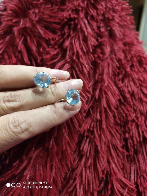 Серьги с голубым топазом. Выбирала серьги с камнем между аметистами