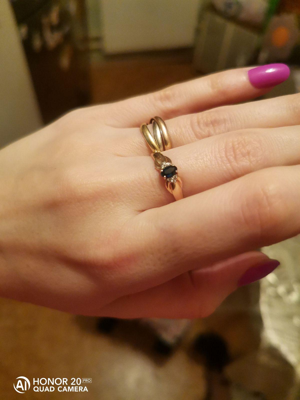 Кольцо с сапфирам и бриллиантами.