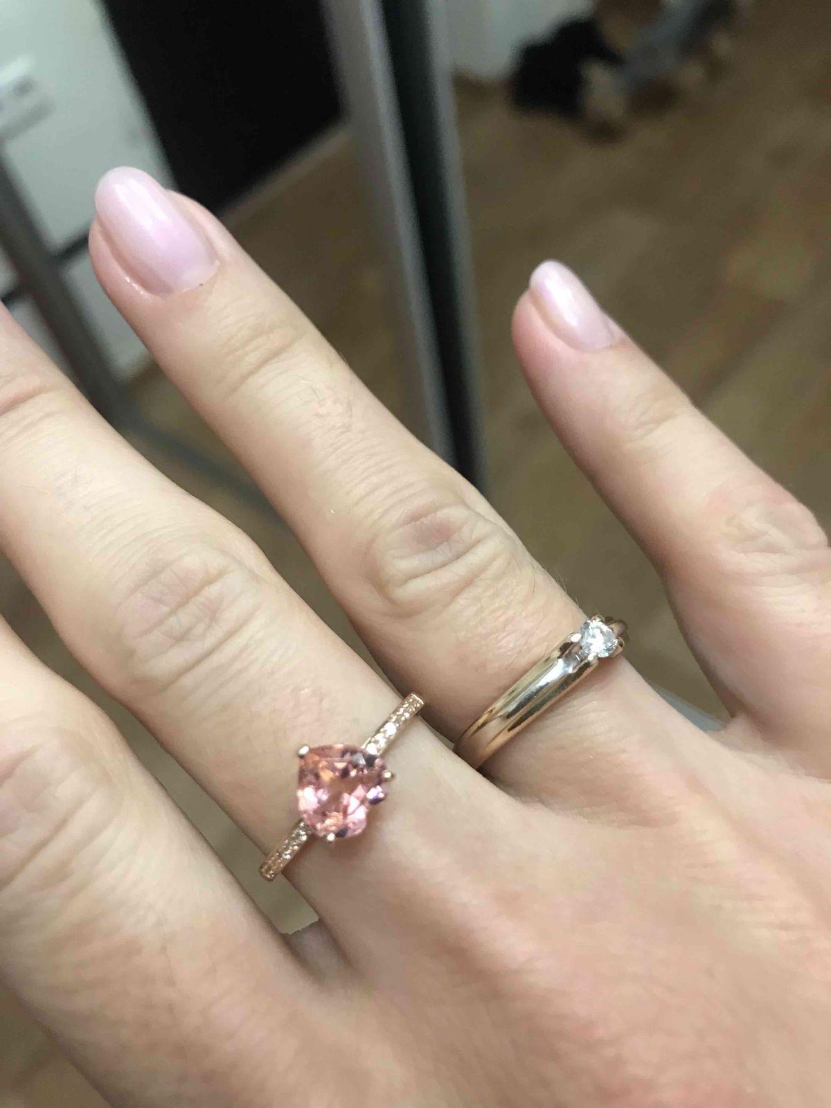 Сердце-Морганит кольцо