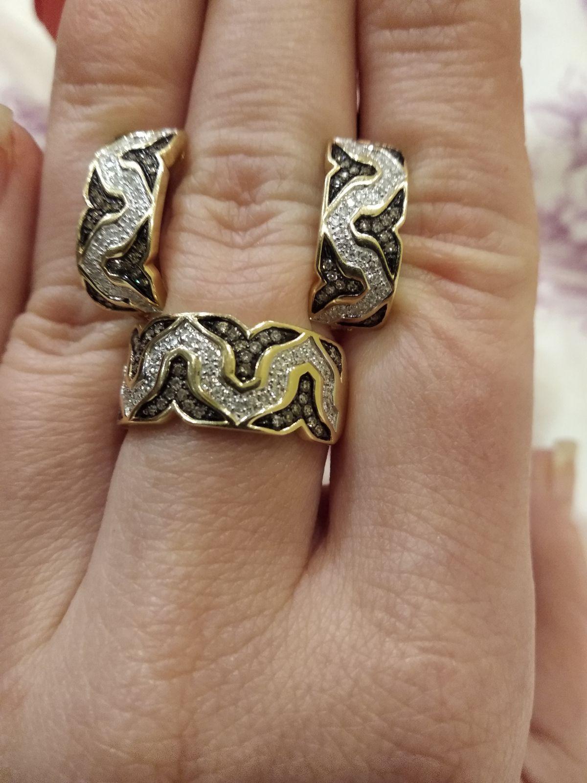 Чудесные серьги с коньячными бриллиантами