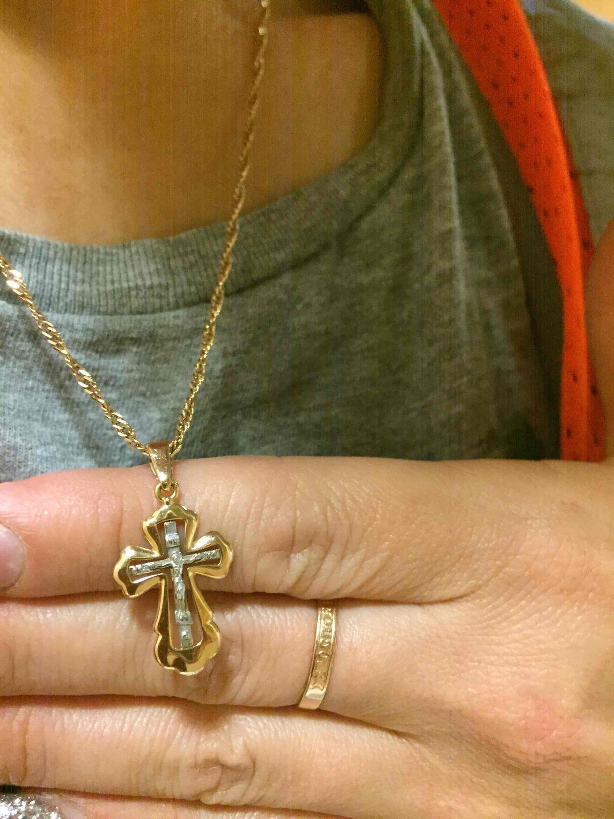 Крестик с распятием из белого золота