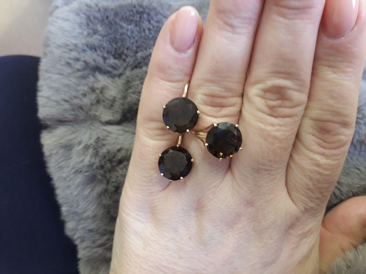 Комплект серьги и кольцо, отличный!