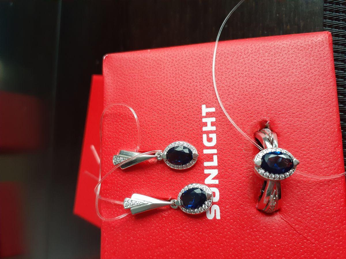Серебряные серьги с сапфирами и фианитами.