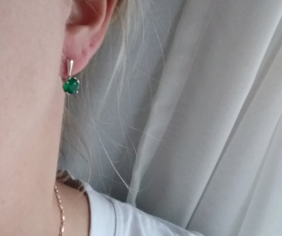 Серьги зелёный агат