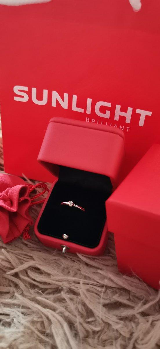 Серебряное кольцо, вставка из золота с бриллиантом