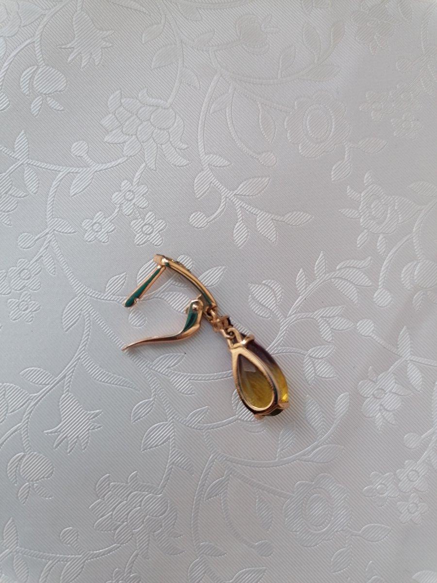 Золотые серьги с аметрином.