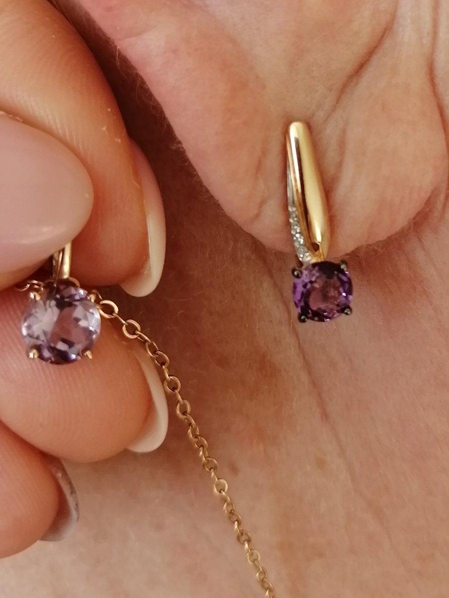 Серьги с аместистами и бриллиантами