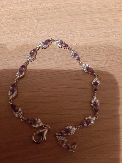 Серебрянный браслет с аметистами