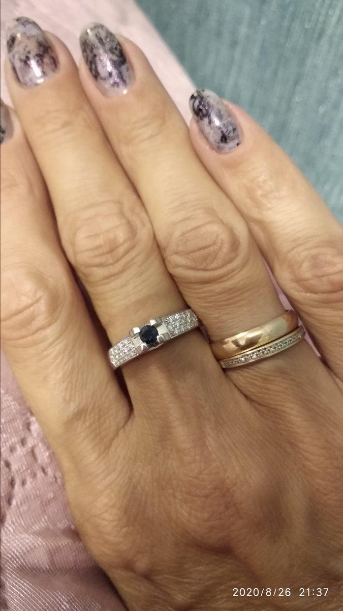 Сапфир и бриллианты в белом золоте