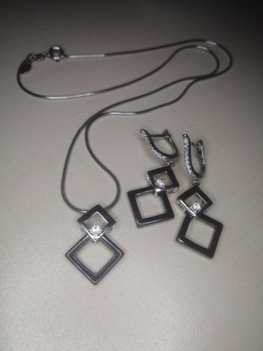 Сережки серебро с керамикой и фианитом