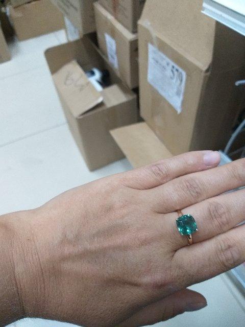 Кольцо с зеленым кварцем