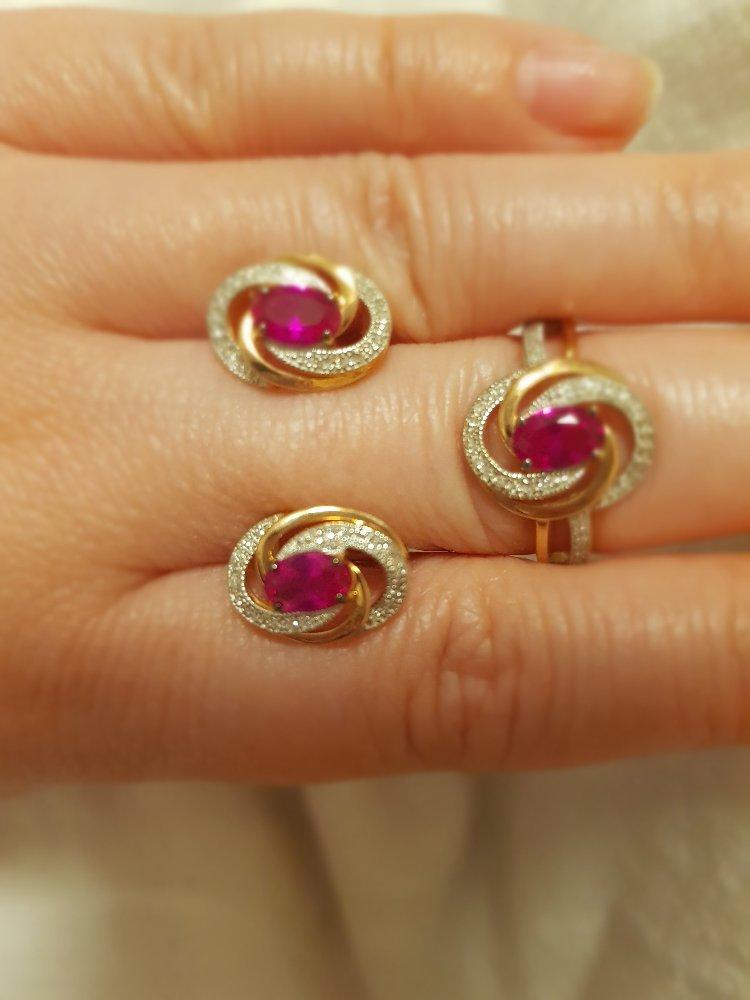 Серёжки с рубином и бриллиантами