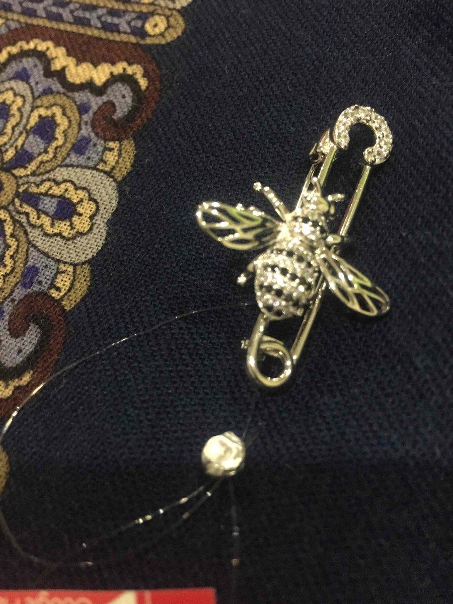 Серебрянная брошь-булавка в виде очаровательной пчёлки