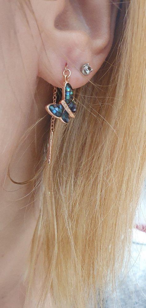 Серёжки- бабочки перламутр, серебро