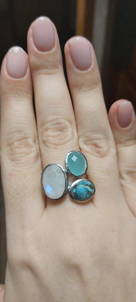 Кольцо с бирюзой, алпанитом и лунным камнем