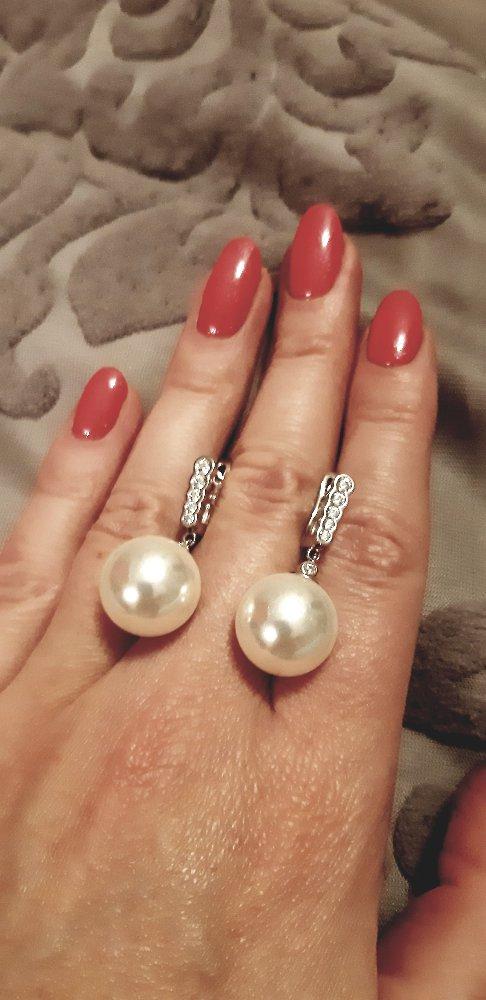 Серебряные серьги с фианитами и жемчугом