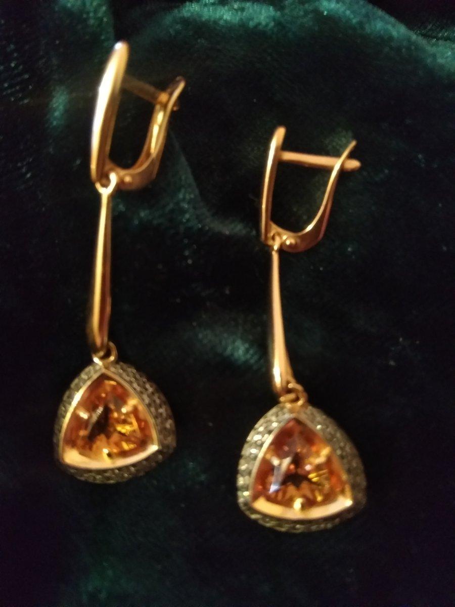 Серьги серебряные с султанитом и фианитами