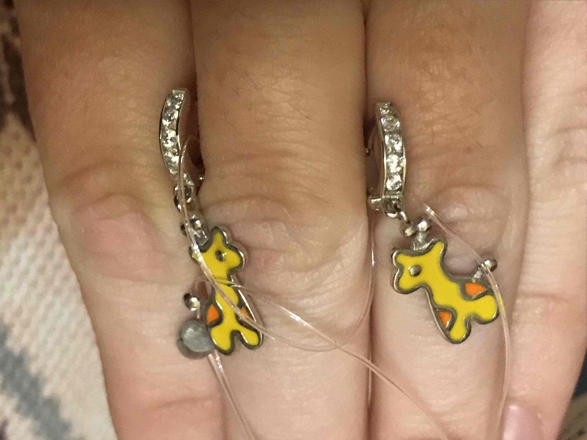 Детские серьги с жирафами