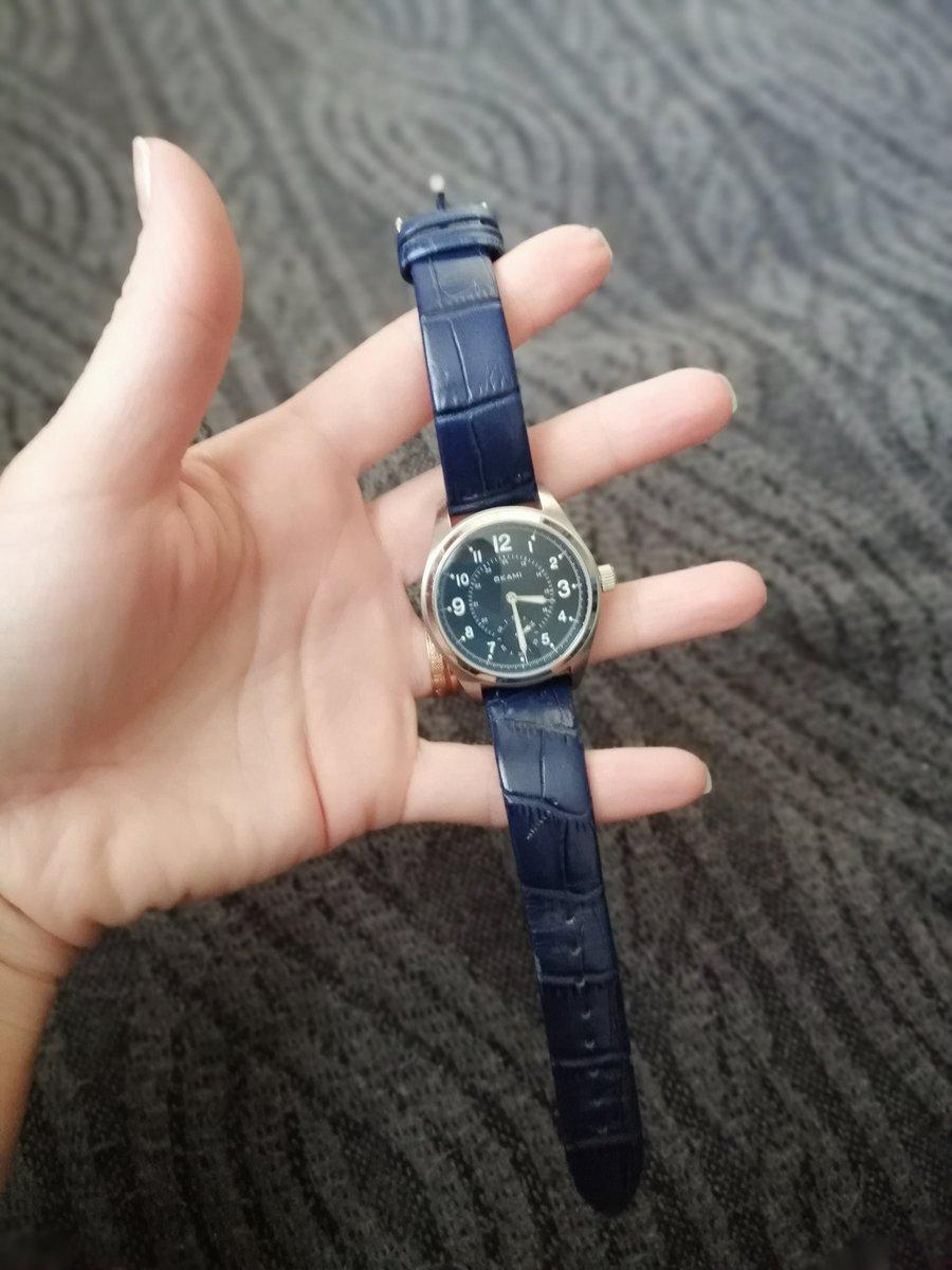 Женские часы на синем ремне из натуральной кожи