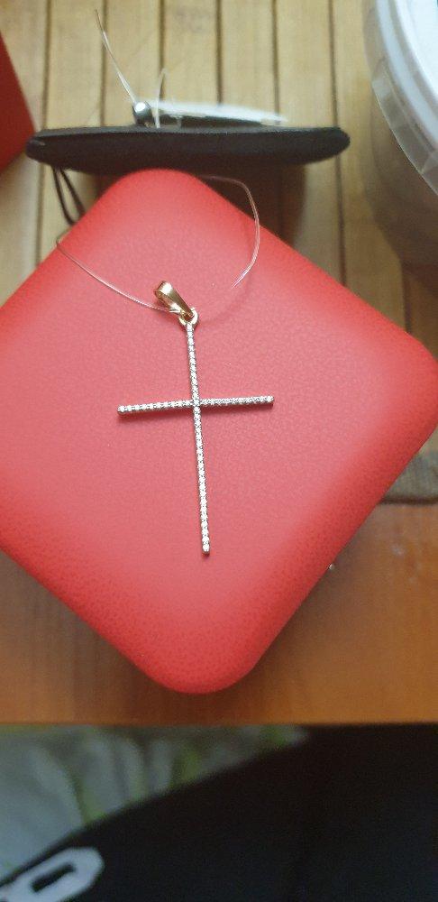 Крестик золотой с фианитами
