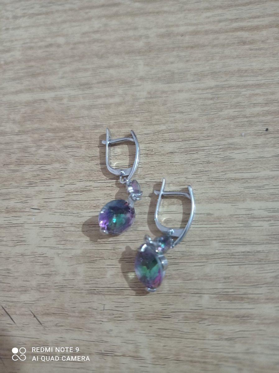 Серебряные сережки с кубическим цирконием(мистик)