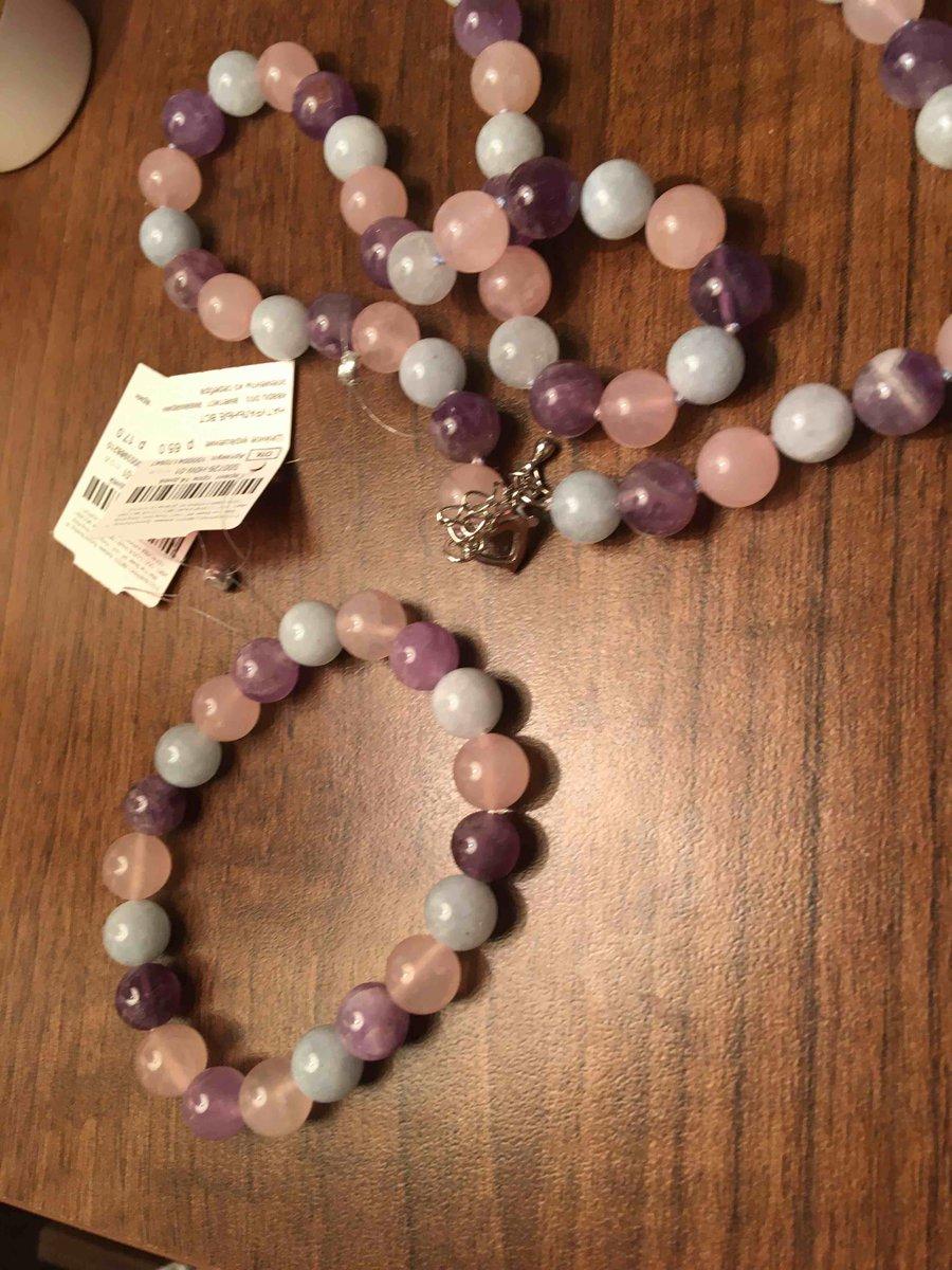 Браслет из натуральных камней аметист аквамарин и розовый кварц