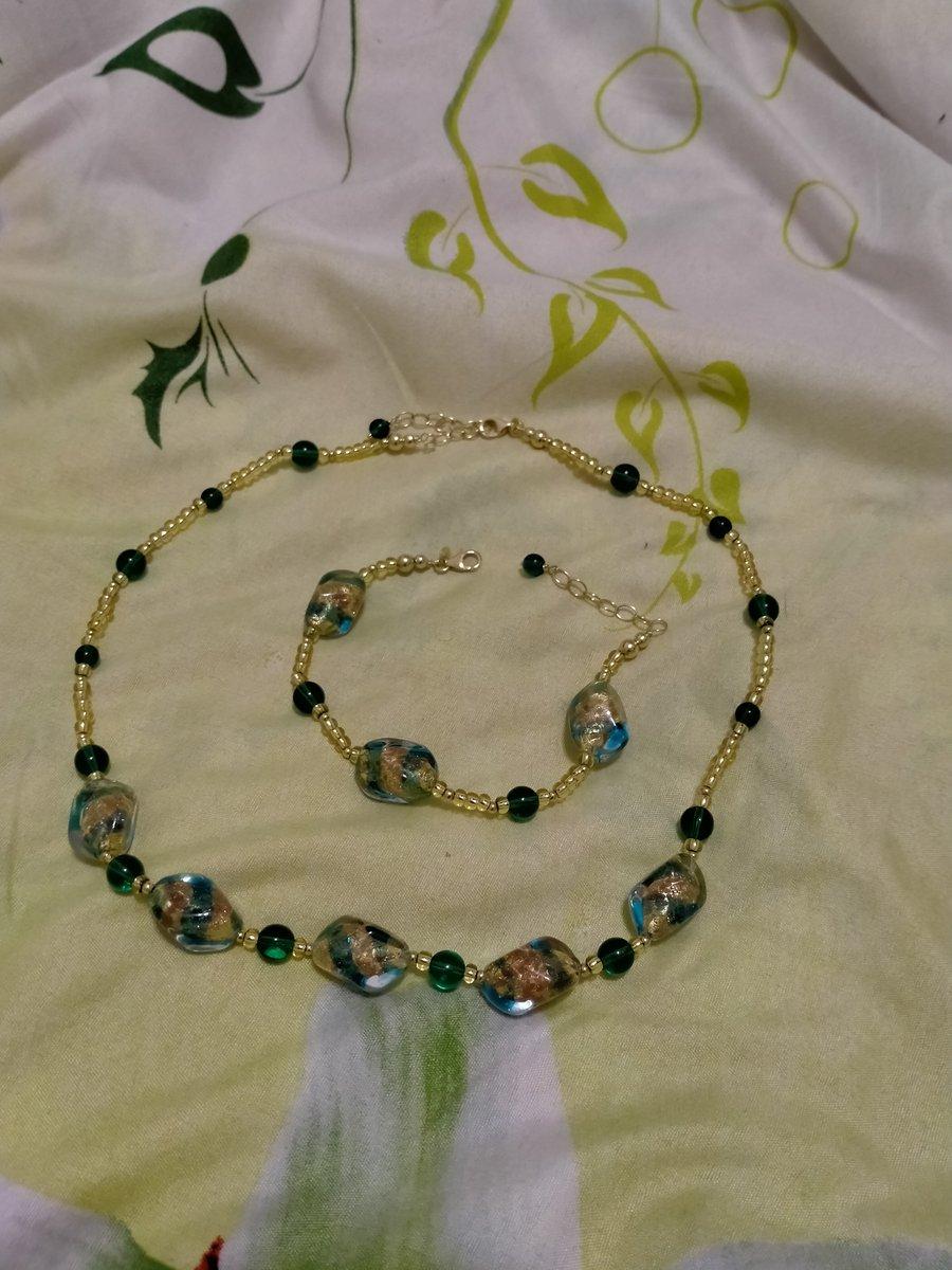Серебряный браслет с муранским стеклом