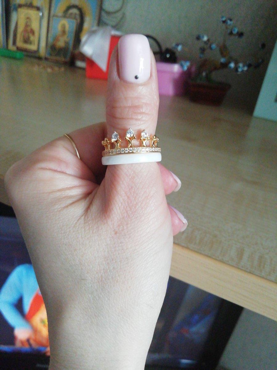 Кольцо корона белая  керамика