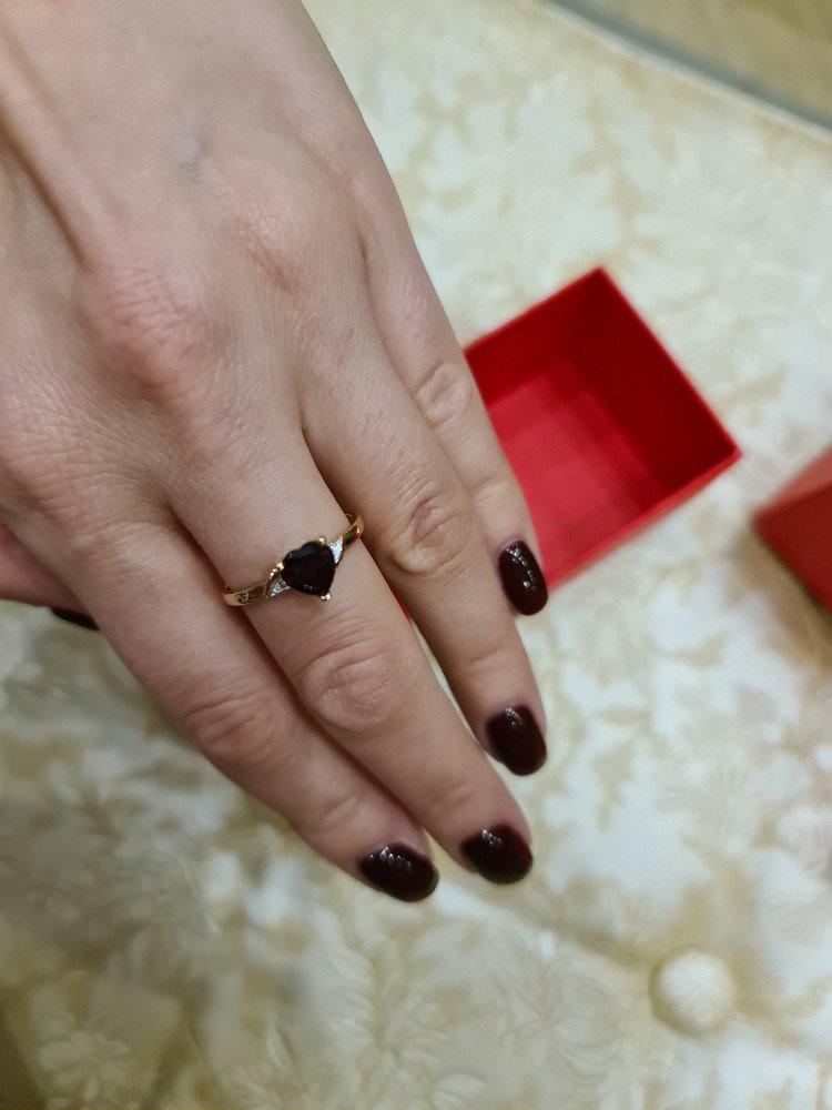 Кольцо с сердцем из граната