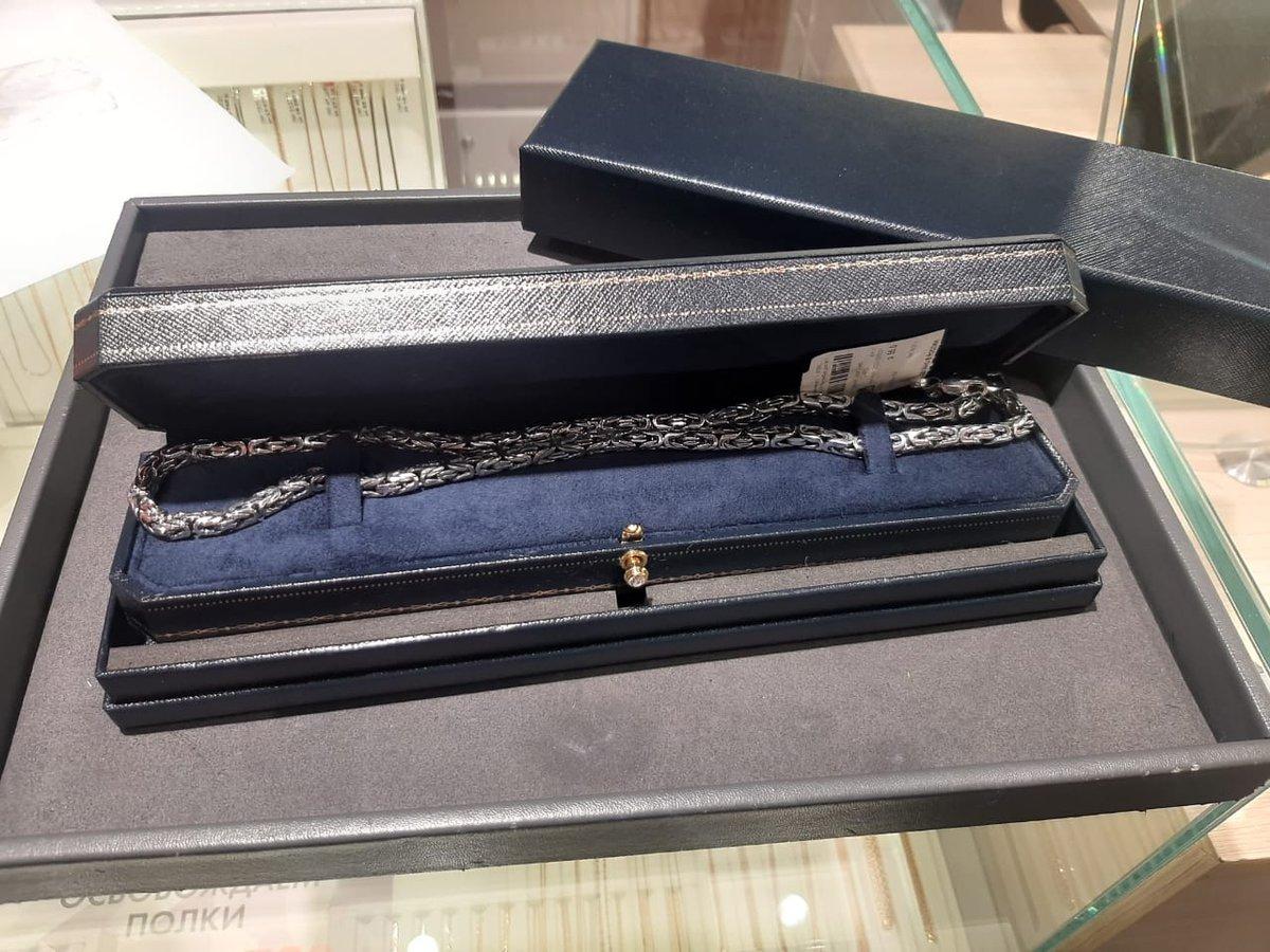 Серебрянная цепь очень прочного плетения «лисий хвост»