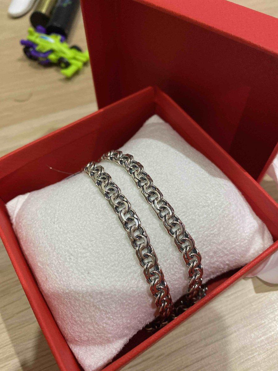 Серебряная цепь, 55 размер.