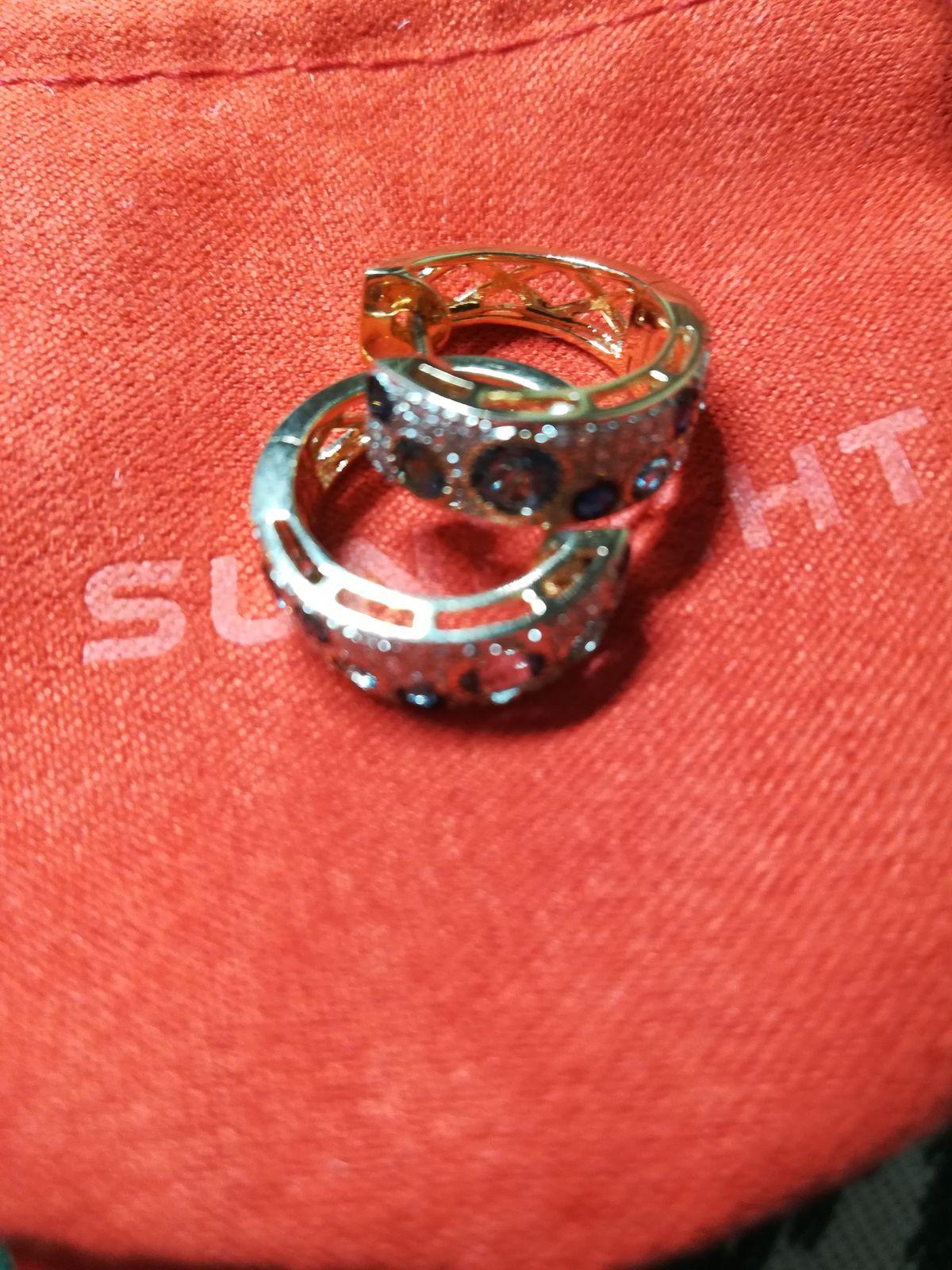Серьги с сапфирами, топазами и россыпью бриллиантов от магазина Санлайт