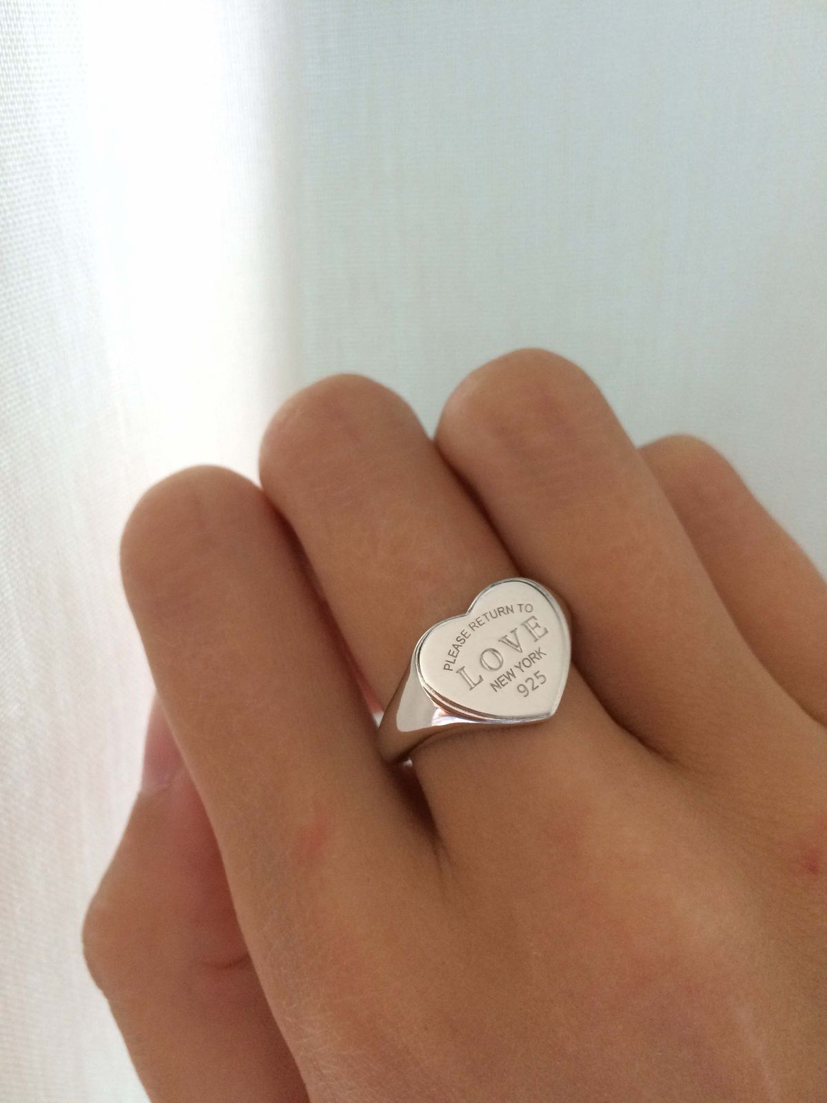Кольцо-печатка сердце