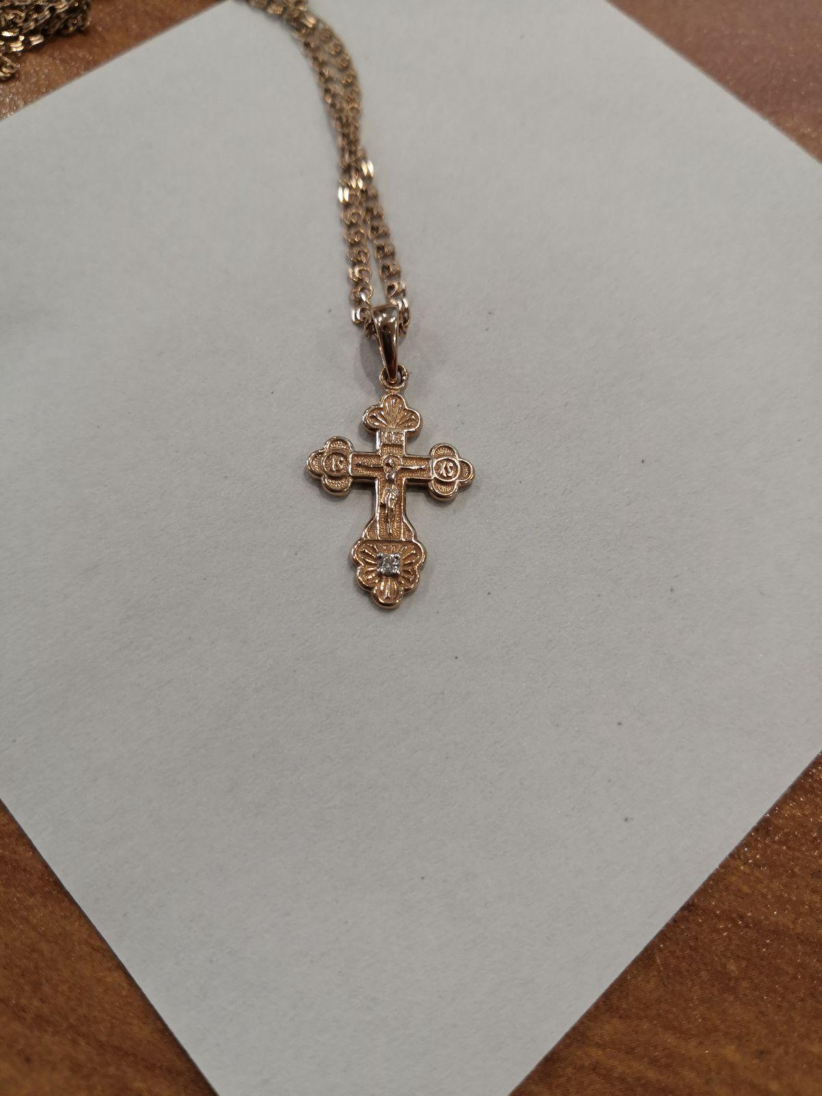 Подвеска-крестик с бриллиантом