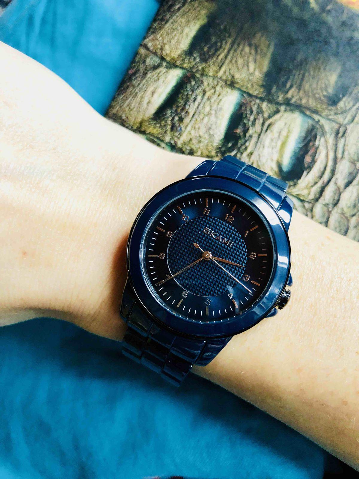 Синие керамические часы