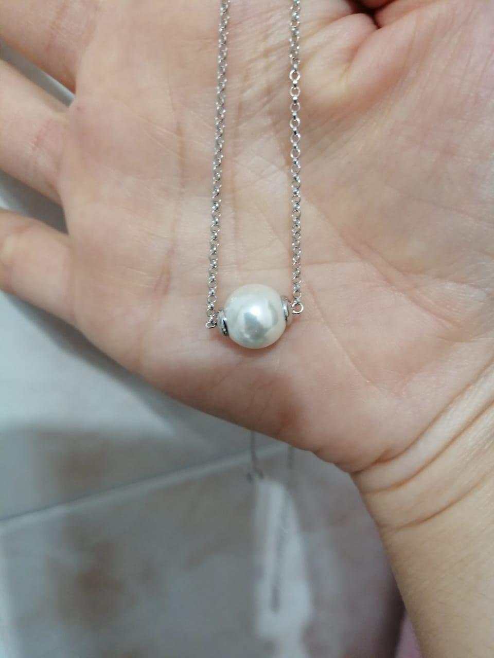 Серебряное, шейное украшение с жемчугом