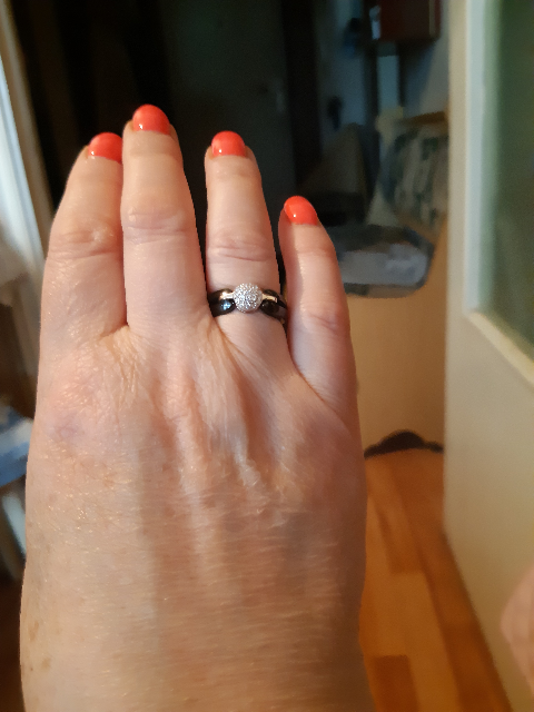 Кольцо серебренное из керамика
