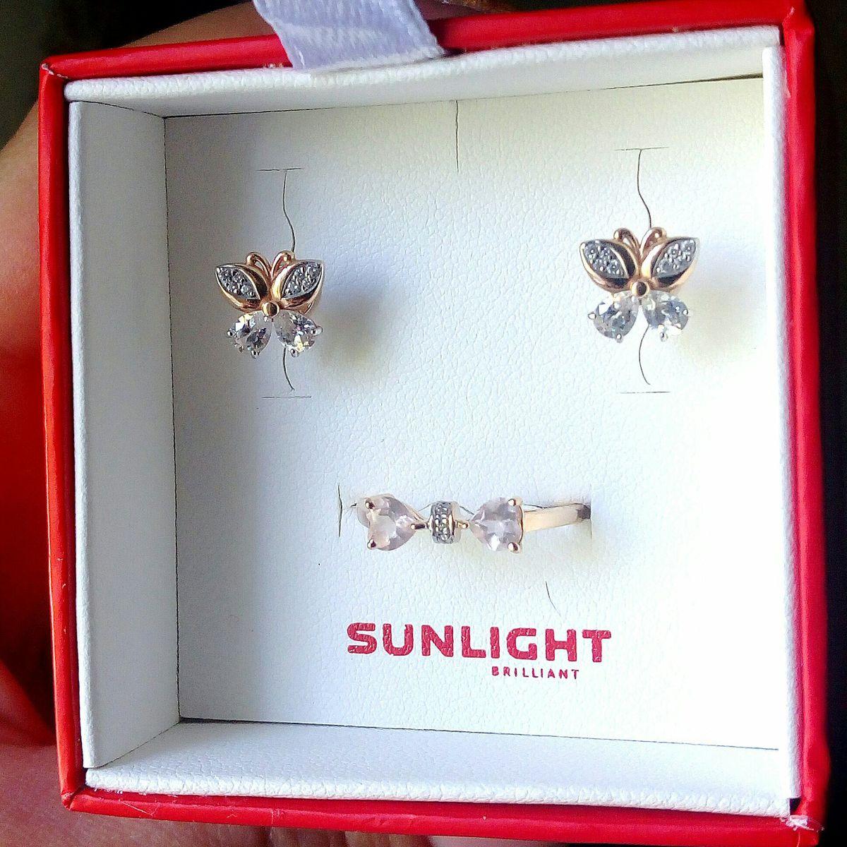 Золотые бабочки с фианитами