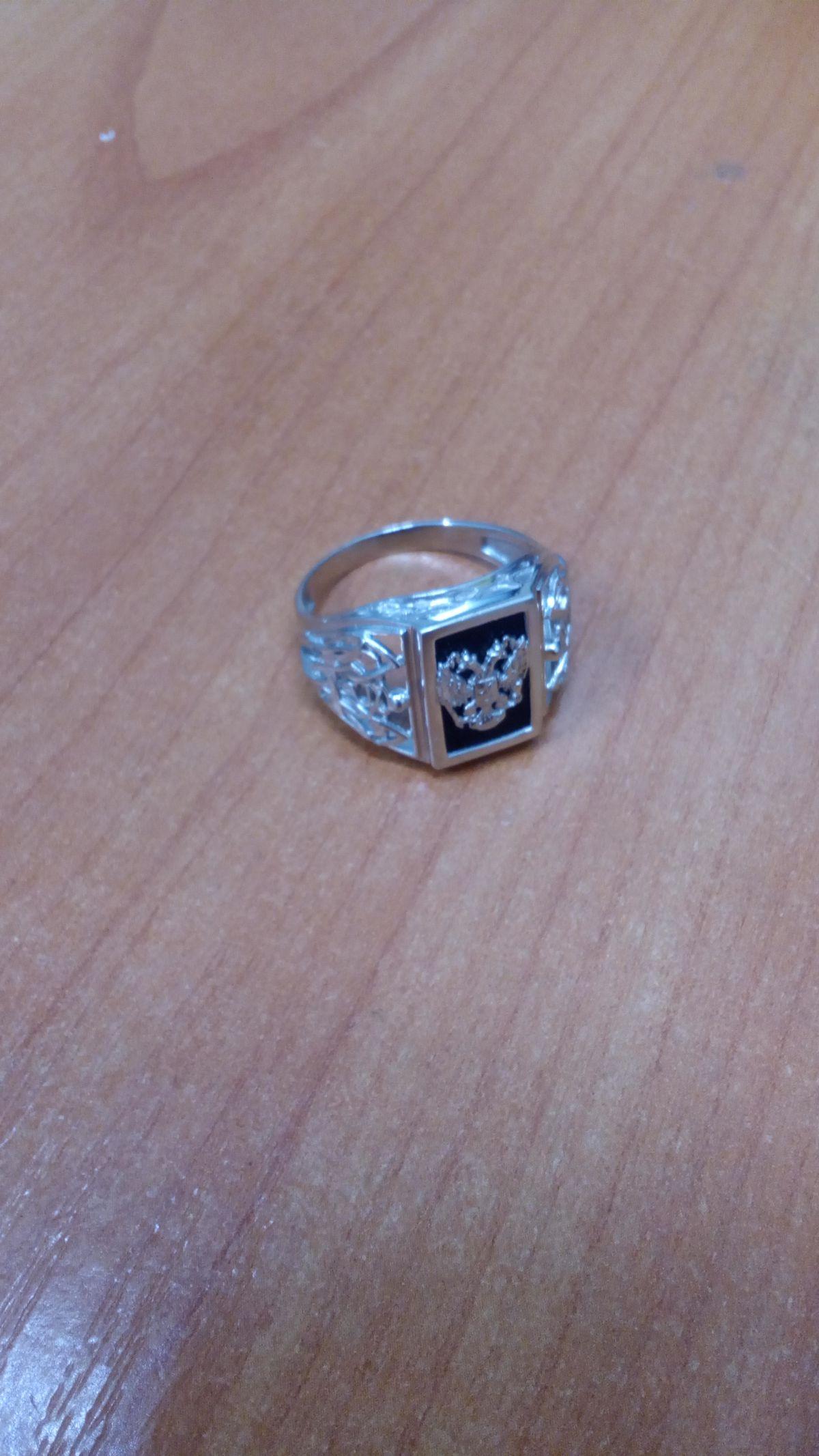 Кольцо серебряное с гербом
